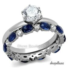 2.25 Ct Round Cut Clear & Blue CZ Stainless Steel Wedding Set Women's Size 5-11