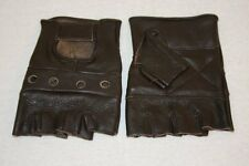 Mens Lightweight Unlined Fingerless Brown Leather Motorcycle Riding Gloves