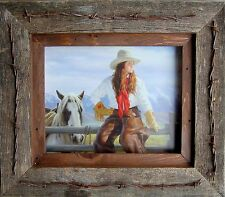 Salvaged Reclaimed Barnwood Picture Frame--Texas Vaquero barbed wire