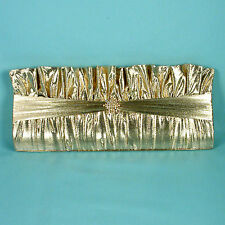 Gold Lamé Evening Bag Clutch Purse  Ruffled Design with Rhinestone Trim (P333)
