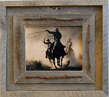 Salvaged Reclaimed Barnwood Picture Frame--Laramie barbed wire