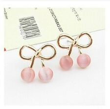 Pink Ladies Cherry Opal Earrings Jewelry MINI Cute Bow Japan Korean Charm Women