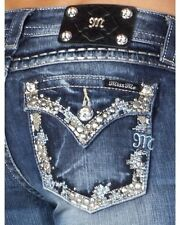 New Miss Me Jeans MED282 Embroidery Crystal Pocket Boot Cut 25 26 27 28 29 30 31