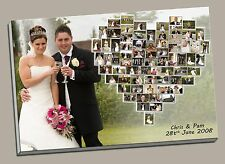 PERSONALISED HEART CANVAS PRINT SHAPE PHOTO COLLAGE BOX FRAMED WEDDING SPECIAL