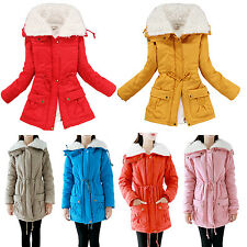 Women Warm Parka Fitted Pockets Faux Fur Collar Quilted Padded Long Coat Jacket