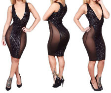 Women's Exotic V Neck Sexy Lingerie Fitted Party Dress Bandage Evening Clubwear