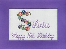 Handmade Personalised Embroidered 70th Birthday Cards  Any Name Any Age