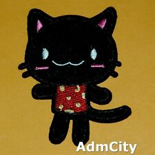 Black Cat Iron on Sew Patch Embroidery Applique Badge Retro Embroidered Cute