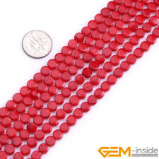 """6mm Red White Pink Coral Gemstone Coin Flat Beads For Jewelry Making Strand 15"""""""
