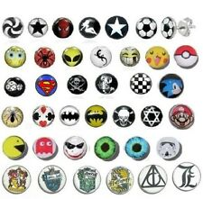 NEW MENS BOYS *SINGLE* OR PAIR LOGO STUD EARRING PICTURE CARTOON STUDS GIRLS