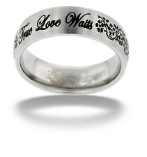True Love Waits Cursive Stainless Steel Ring by Forgiven Jewelry, Sizes 5-9