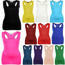 Womens Ladies Plain Racer Back Sleeveless Muscle Back Viscose Jersey Vest Top