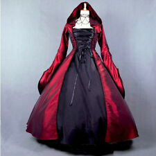 Ladies Black/Red Gothic Victorian Hooded Ruffles Lolita Dress Cosplay Costume
