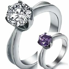 Size K M O Q S Wedding Ring Stainless Steel Clear Purple CZ AAA Grade Classic