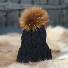 Raccoon Fur Pom Pom Cable Knit Bobble / Beanie Hat