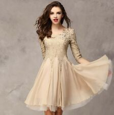 New Summer Lady's Lace Pleated Dresses 3/4 Sleeve Slim Ball Gown Party Dress UK