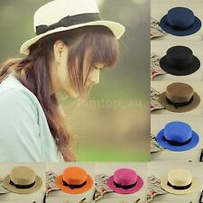Ladies Fedora Hat Trilby Bowknot Women Straw Panama Summer Jazz Beach Sun Cap