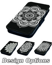 Mandala Inspired Designs Printed Faux Leather Flip Phone Cover Case