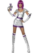WOMENS SPACE CADET FANCY DRESS COSTUME LADIES SEXY FEVER SCI-FI SILVER OUTFIT