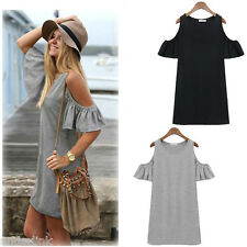 Women Off Shoulder Butterfly Sleeves Casual Loose T-shirt Tops Summer Mini Dress