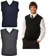 NEW MENS V NECK KNITWEAR VEST KNITTED KNIT WORK BUSINESS WOOL JUMPER VNECK MEN'S