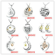 "925 Sterling Silver ""I LOVE YOU TO THE MOON AND BACK"" Lover Pendant Necklace HOT"