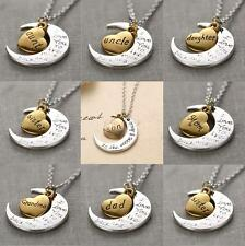 Family Gift Personal I LOVE YOU TO THE MOON AND BACK Moon Pendant Necklace Charm