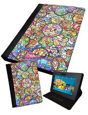 Stained Glass Printed Tablet Folding Case Cover Faux Leather Disney Inspired