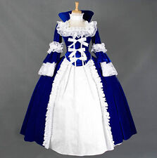 Ladies Blue Gothic Witch Victorian Halooween Lolita Dress Cosplay Costume Outfit