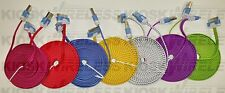 10FT Braided FLAT Cable Rope, sync data, lot For iPhone 4 & iPhone 4s, 30 Pin