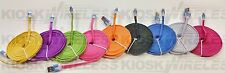 10FT Braided FLAT Cable Rope, sync data, lot For iPhone 5, 5c, 5s, 6, 6 Plus ios
