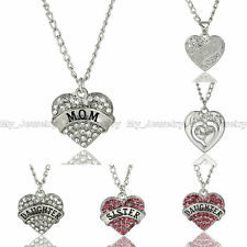 Crystal Rhinestone Heart Mom Mum Daughter Sister Pendant Necklace Family Gifts