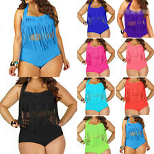 PLUS SIZE Women Retro Fringe Top High Waisted Bikini Swimwear Swimsuit 1X/2X/3XL
