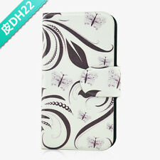 Grey Flower Leaves Magnetic PU Leather Flip Case Cover For Lenovo Phone 22
