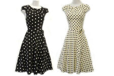 New Ladies Black Cream Polka Dot  WW2 1930's/40's Vintage style Swing Tea Dress