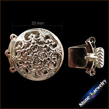 2/5/10 PCS 3 Strings 23mm Filigree Flower Box Clasps Accessories Jewelry Finding