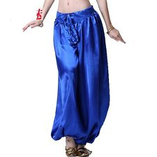 Women's Belly Dance Costume Satin Bloomers Harem Pants Bollywood Indian 5 Colors