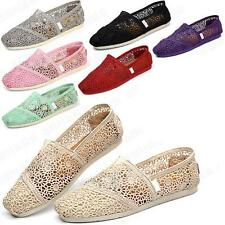 D10 Fashion Lady's Hollow Carved Natural Linen Canvas Shoes Rubber Sole Shoe UK