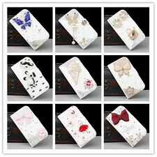 Crystal Bling Diamond Wallet Stand PU Leather Case Cover for Samsung and iPhone