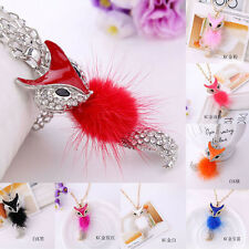 New Women Crystal Feather Fox Pendant Necklace Rhinestone Long Sweater Chain
