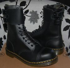 "NIB Dr Doc Martens Caden Black ""Steel"" Toe Twin Buckle 12-Eye Paratrooper Boots"