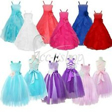 Communion Kids Girls Flower Ruffle Formal Dress Wedding Bridesmaid Party Dresses