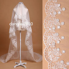NEW white ivory 1T Cathedral applique edge Lace bridal mantilla wedding veil