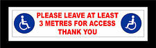 Packs Of Disabled Vehicle Stickers Please Leave 3 Meters For Access Wheelchair