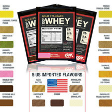 Optimum Nutrition Gold Standard 100% Whey Protein Samples inc US IMPORT FLAVOURS