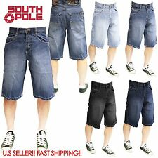 SOUTHPOLE 4180-1043 Mens Relaxed Fit Denim Jean SHORTS Dark Sand Blue, BLACK