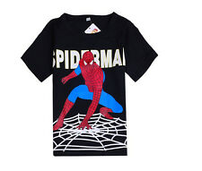 SPIDERMAN T-SHIRT NEW BOYS TOP CLOTHING BLACK RED SHORT SLEEVE. AGES 3-8 FROM UK