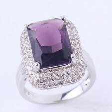 18K white gold filled Gorgeous purple sapphire crystal Chic rings Sz6to10