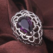 18K white gold filled purple sapphire crystal lady design knot rings Sz6to10