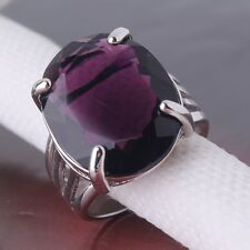 18K white gold filled purple sapphire crystal Dazzling new fashion ring Sz6to10